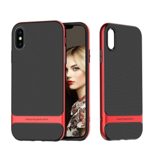 Двухкомпонентный силиконовый TPU-PC чехол Rock Royce Series для iPhone Xs Max - красный