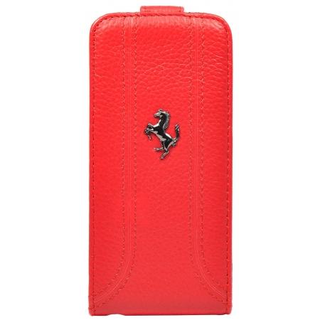 Кожаный чехол Ferrari для Apple iPhone 5/5S / iPhone SE Flip FF Collection - красный