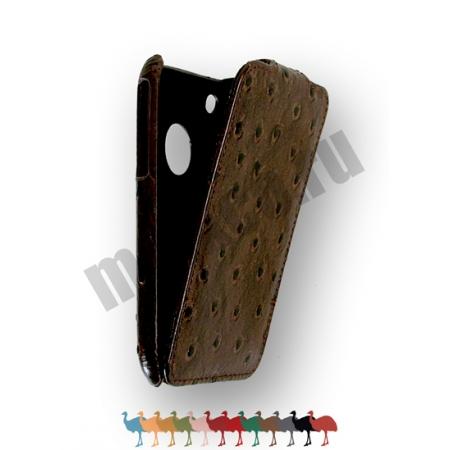 Кожаный чехол, страусиная кожа Melkco для Apple iPhone 3GS/3G - Jacka Type - коричневый