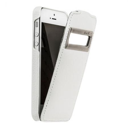 Кожаный чехол с окошком Melkco для Apple iPhone 5/5S / iPhone SE - Jacka ID Type - белый