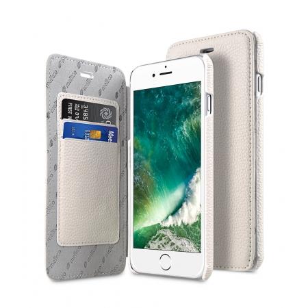 Кожаный чехол Melkco для Apple iPhone 8 Plus/7 Plus - Face Cover Book Type Case - белый