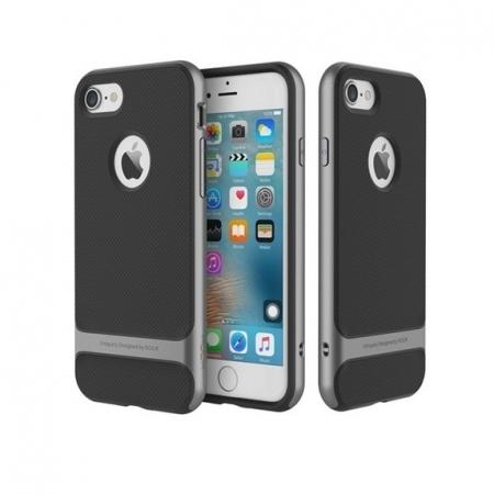 Двухкомпонентный силиконовый TPU-PC чехол Rock Royce Series для Apple iPhone 8/7 - черно-серый
