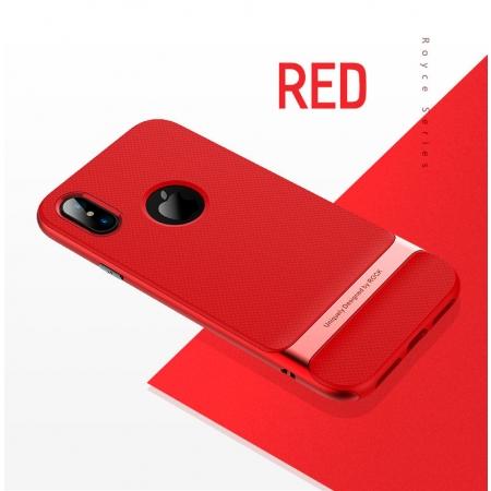 Двухкомпонентный силиконовый TPU-PC чехол Rock Royce Series для iPhone X/XS - красный