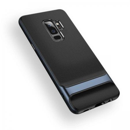 Двухкомпонентный силиконовый TPU-PC чехол Rock Royce Series для Samsung Galaxy S9+ - черно-синий