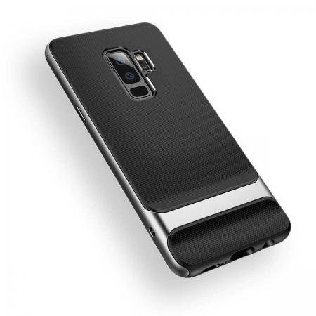 Двухкомпонентный силиконовый TPU-PC чехол Rock Royce Series для Samsung Galaxy S9+ - черно-серый